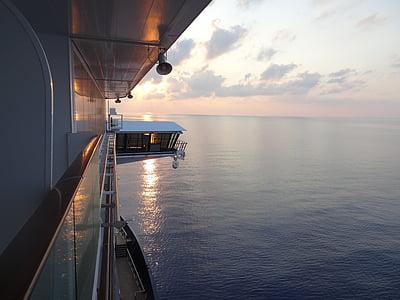 kryssning, havet, fartyg, Aida, kryssningsfartyg, däck, solen