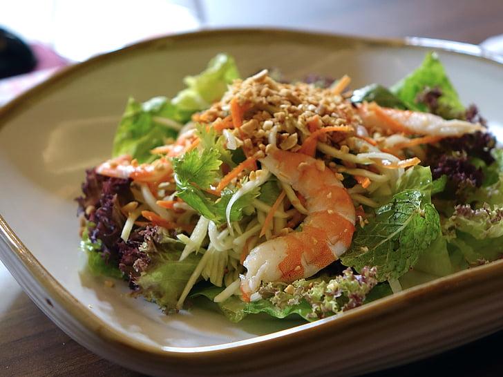 salad, vegetables, prawn, food, green, healthy, peanut