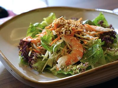 샐러드, 야채, 새우, 음식, 그린, 건강 한, 땅콩
