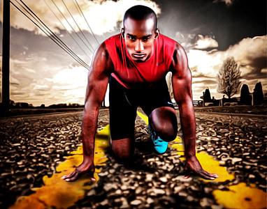 alergător, sport, putere, om, începe, drumul, sport