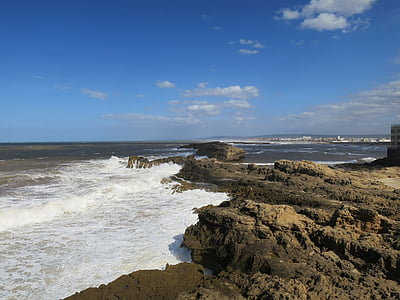 morocco, beach, surf, essaouira, atlantic, rock, beach landscape