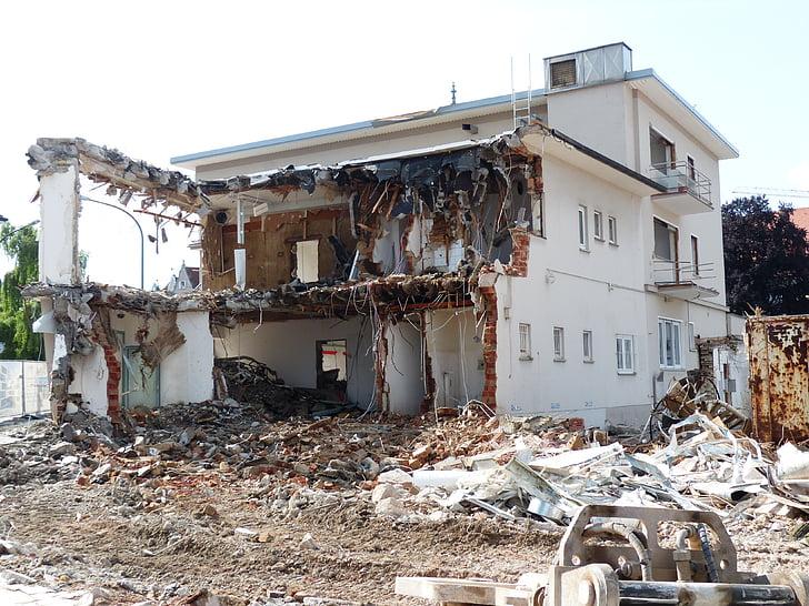 demolició, runes de construcció, accident, lloc, casa, enderrocada, trencat