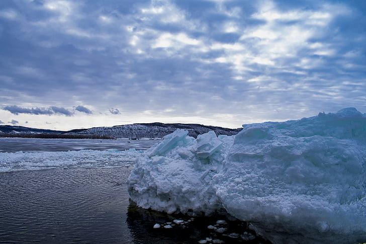 Fluss, Wolf, Eis, Blau, Abbildung, Frost, Muster