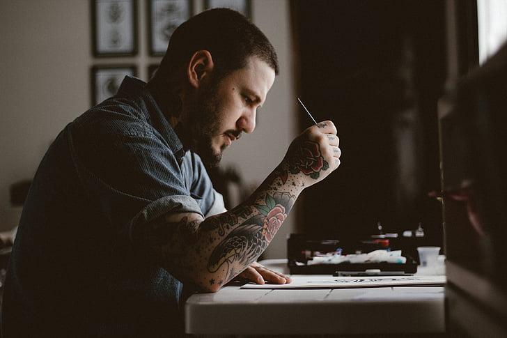 mọi người, người đàn ông, hình xăm, bản vẽ, thiết kế, nghệ sĩ, nghệ thuật