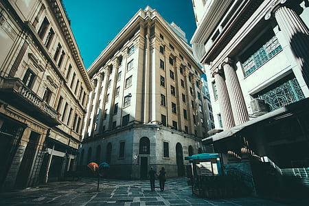 buildings, city, couple, people, street, urban, architecture