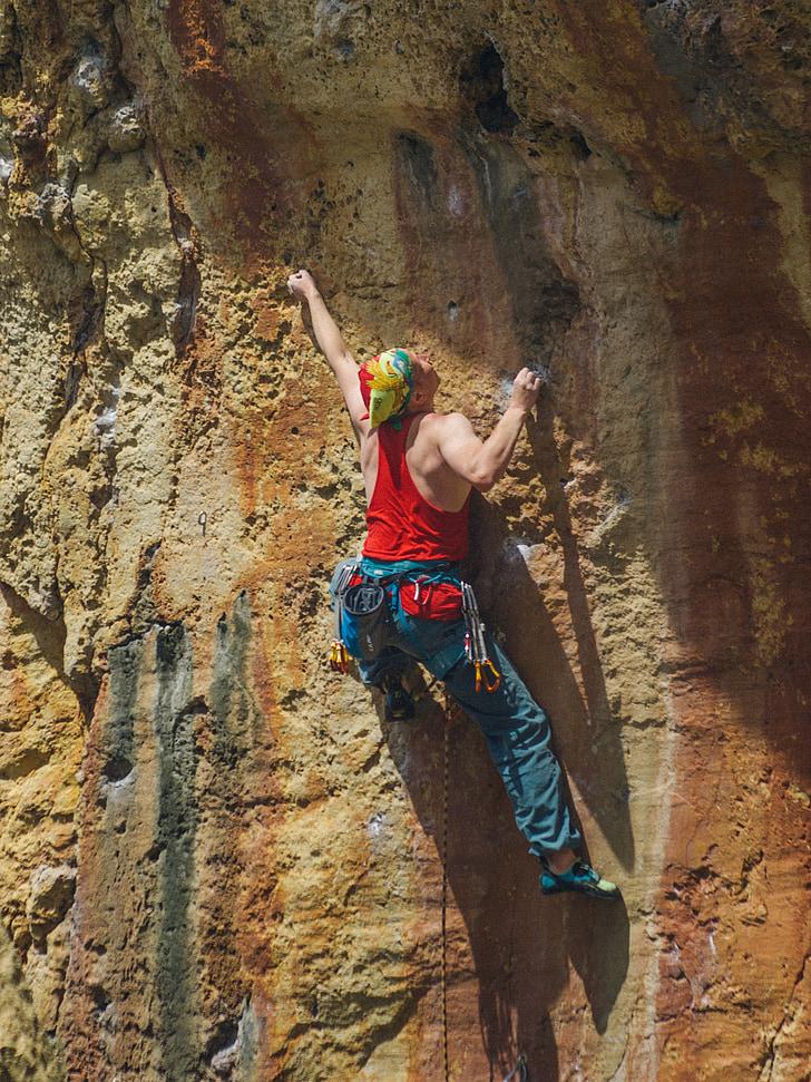 alpinista, rocha, o propósito do, um esforço, quebra