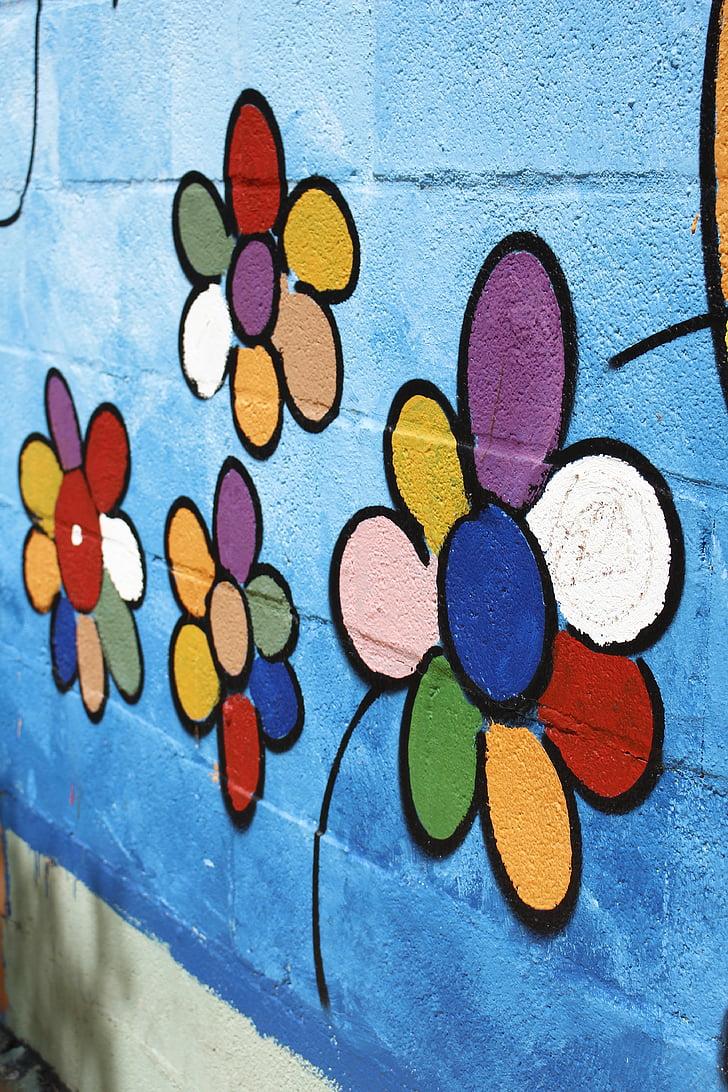 fal, virágok, kreatív, spray, város, szépít