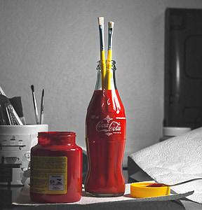 cat, merah, botol Coke, warna, sikat, cairan, botol