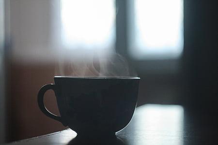 블랙, 세라믹, 커피, 머그잔, 맨 위로, 갈색, 나무