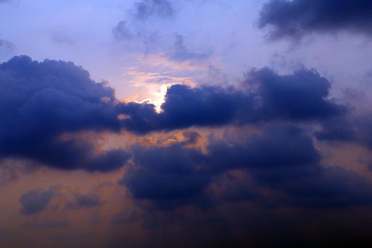 clouds, sunset, sky, sun, nature, dramatic