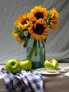 Slunečnice, jablka, život, stále, léto, květ, kytice