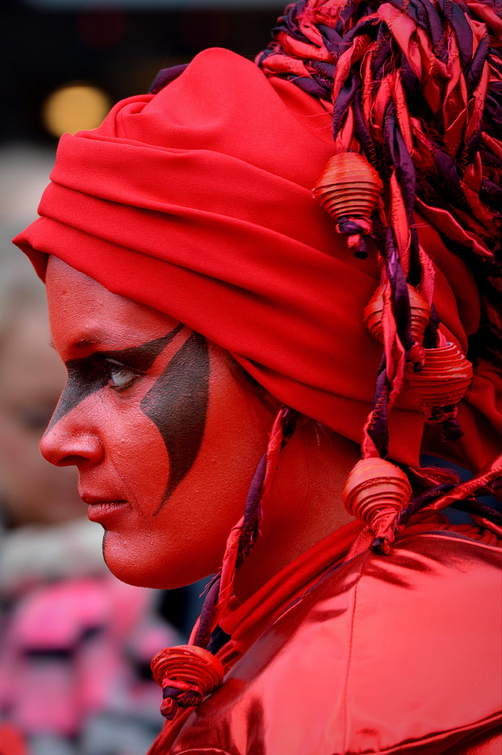 woman, carnival, decoration, face paint, red, dress up, close-up