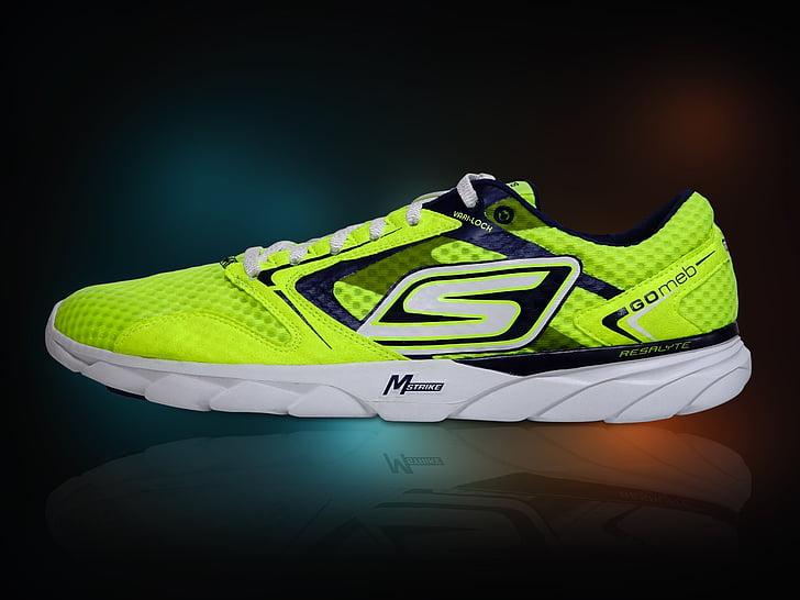 executant sabates, lluminosa, brillant, groc, sabata, Atletisme, executar