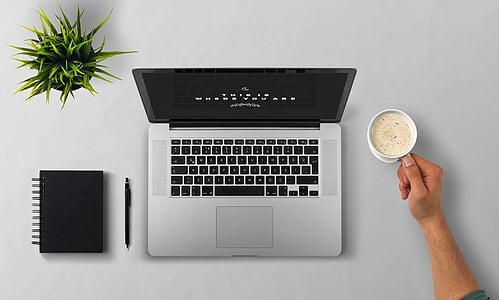 笔记本电脑, 咖啡, 手臂, 男子, 植物, 桌面, 记事本