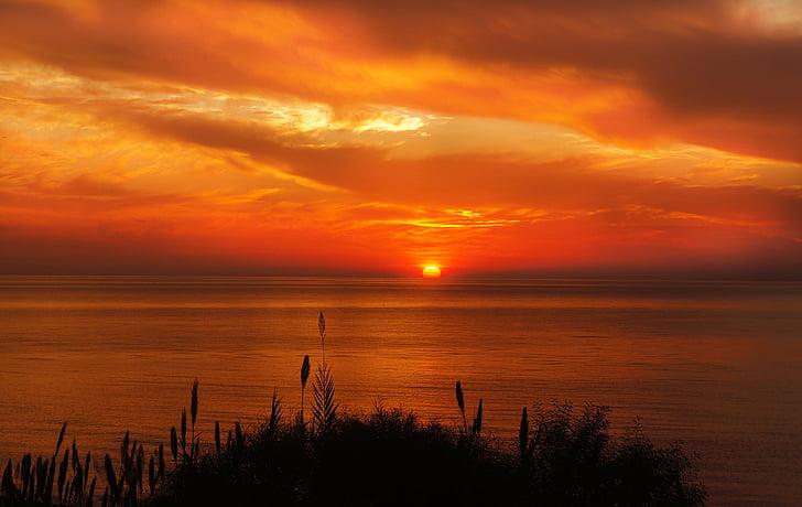 solnedgång, soluppgång, solen, sommar, Sky, landskap, Ocean