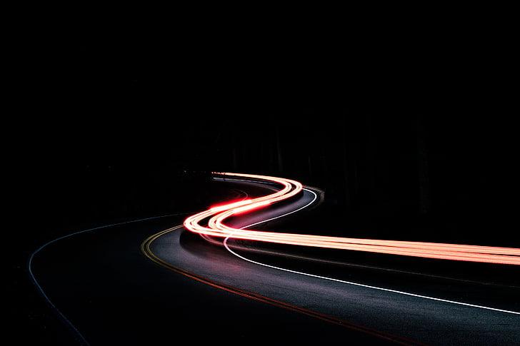 Темний, ніч, дорога, Вулиця, Асфальт, подорожі, світло