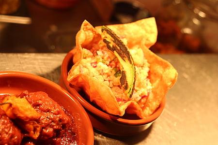 Taco, toidu, plaat, Salsa, Vürtsikas, kana, Restoran