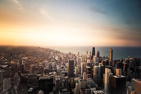 photo, city, buildings, sunset, building, sea, horizon