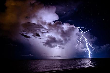 Žaibas, naktį, Orai, dangus, Gamta, elektros energijos,