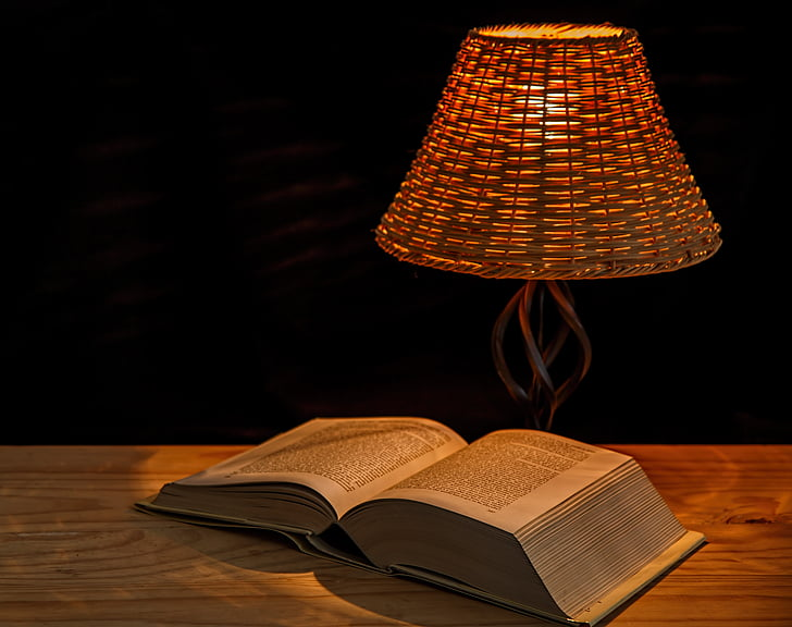 light, lamp, bedside lamp, illumination, lampshade, illuminate, book