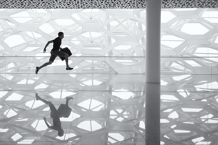 running man, glass floor, reflection, glass, floor, man, businessman