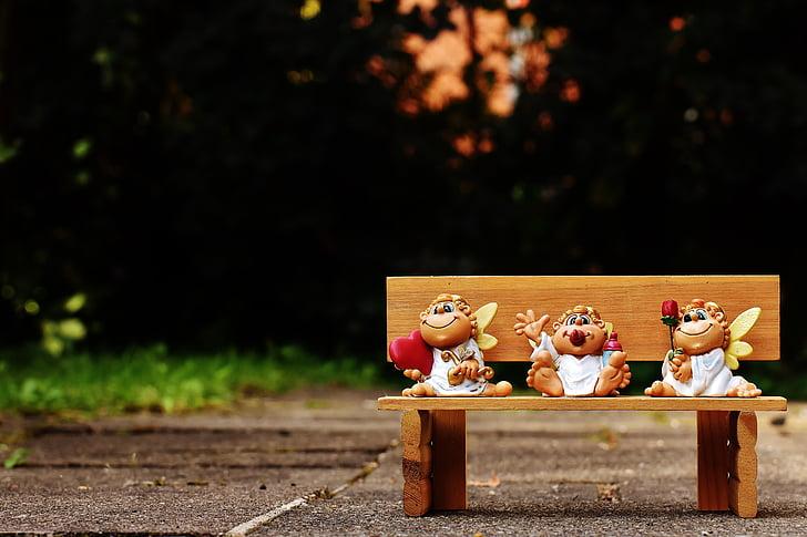 angel, figures, bank, bench, cute, sweet, funny