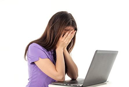 dievča, počítač, notebook, biele pozadie, emócie, ľudia, Práca