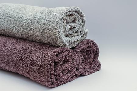 badehåndklæder, badeværelse, håndklæder, håndklæde, blødhed, tekstil, ren