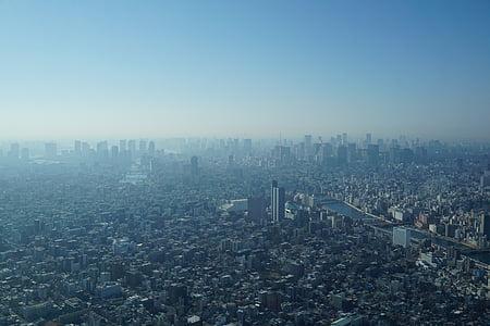 Tòquio, ciutat, boira, urbà, paisatge urbà, silueta urbana, gratacels
