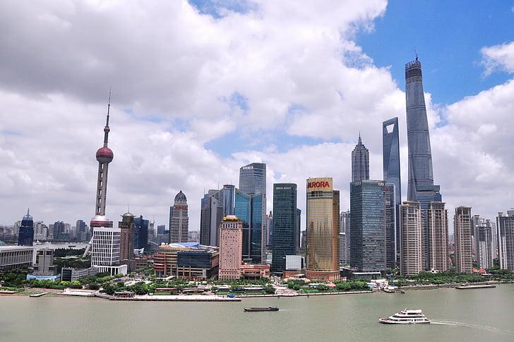 Shanghai, taevas, hoone, Street, bund, maastik, kõrged hooned