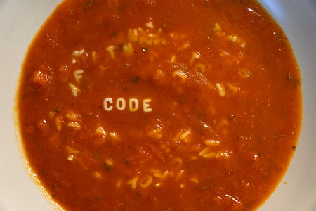 soup, tomatoes, tomato sauce, letters, code