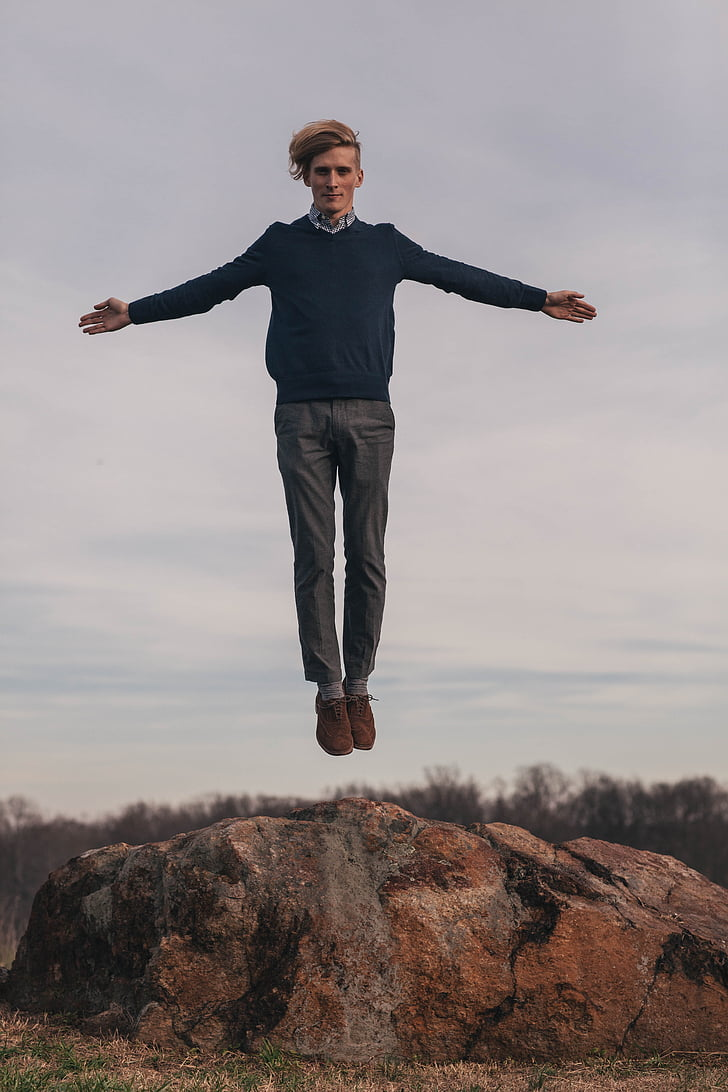 jump, levitate, man, model, rock, human arm, one person