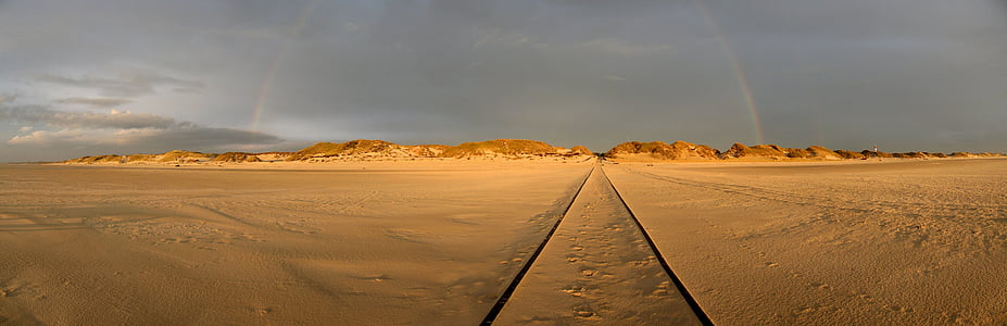 Краеведческий музей Амрума, пляж, Радуга, дюны, Северная Фризия, широкий, Солнце