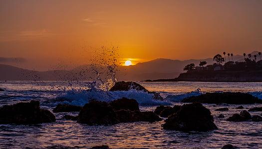 platja, posta de sol, sorra, oceà, posta de sol de platja, viatges, vacances