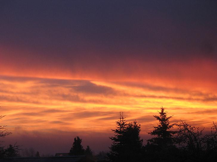 sol de la mañana, morgenstimmung, sol, nubes, morgenrot