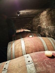 cave à vin, tonneaux en bois, vin, navires, baril, bois, tonneaux de vin