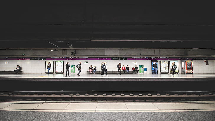 사람들, 대기, 승객, 기차, 역, 교통, 여행