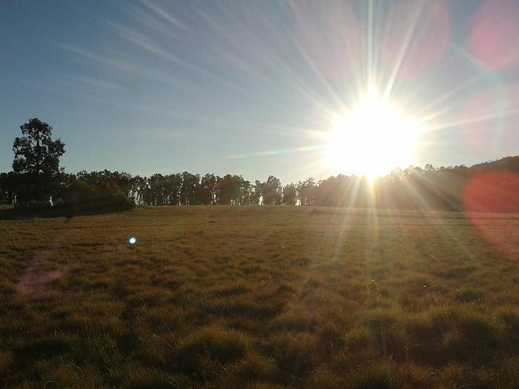 Wschód słońca, rano, łąka, zamontować, Indonezyjski, egzotyczne, Widok