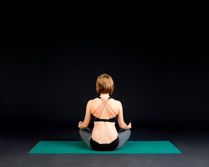 fitness, Jóga, zdravé, cvičení, Jóga žena, pozice, Žena