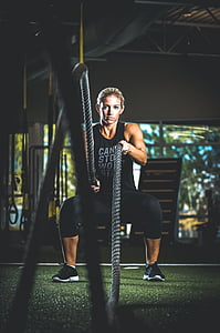 運動, フィット, 健康的です, 人, ロープ, 女性, ワークアウト