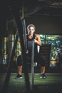 exercici, ajust, Sa, persona, corda, dona, entrenament