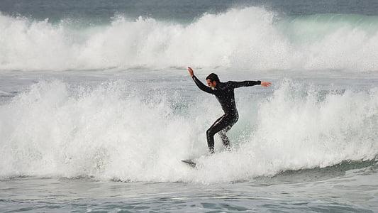 Surfen, Ozean, Surfer, Welle, Männlich, Wasser, Surf