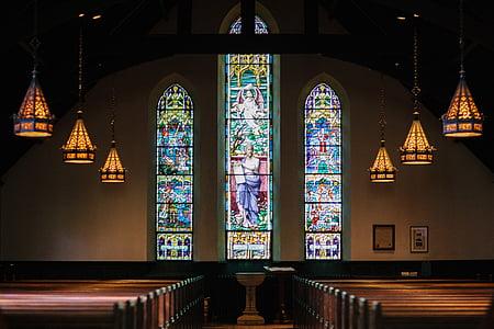 seši, brūns, koka, kulons, lampas, baznīcas sols, traipu stikls
