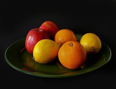 pomes, aliments, fresc, fruites, llimones, taronges, placa