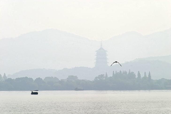 Kina, Hangzhou, Boot, bergen, landskap, floden, dimma