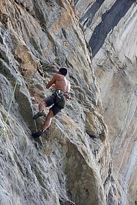 mountaineer, climb, climber, bergsport, rock, secure, steep