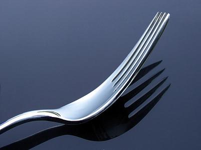 forquilla, menjar, coberts, metall, forquilla de metall, sopar, cuina