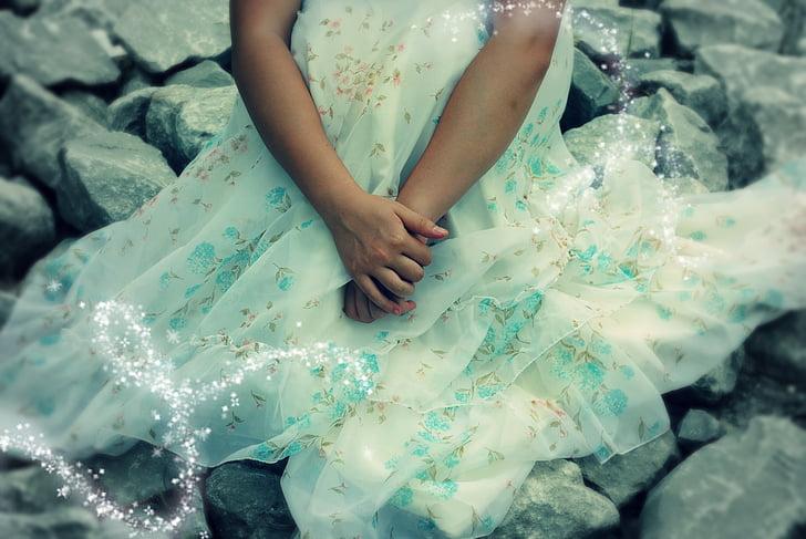 fairytale, dress, hands, girl, princess, magical, cute