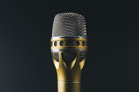 silver, gold, microphone, music, sing, studio shot, black background