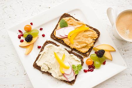 pequeno-almoço, saudável, colorido, Humus, propagação, pão de trigo integral, pão de trigo integral